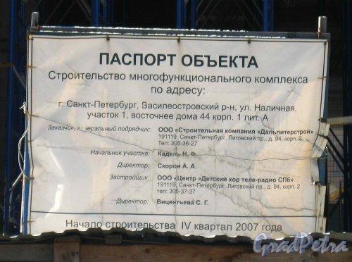 Паспорт строительства многофункционального комплекса по адресу: Наличная ул., участок 1 (восточнее дома 44, корп. 1, лит. А). Фото 2 марта 2013 г.