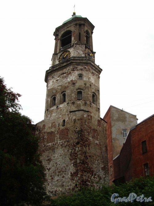 Г. Выборг, Крепостная ул., дом 5а. Часовая башня. Вид со стороны улицы Сторожевой Башни. Фото 19 августа 2012 г.