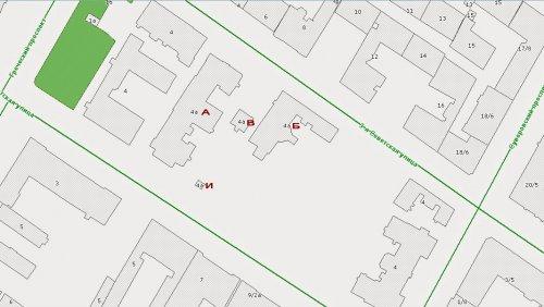 2-я Советская улица, дом 4а. Расположение построек на участке. Фрагмент карты РГИС на май 2013 г.