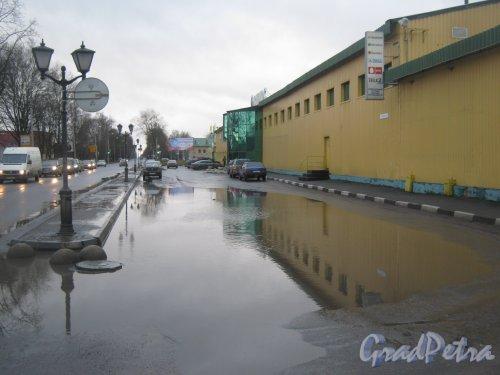 Лен. обл., Гатчинский р-н, г. Гатчина, Киевская ул., дом 15. Лужа около здания строймаркета. Фото 24 ноября 2013 г.
