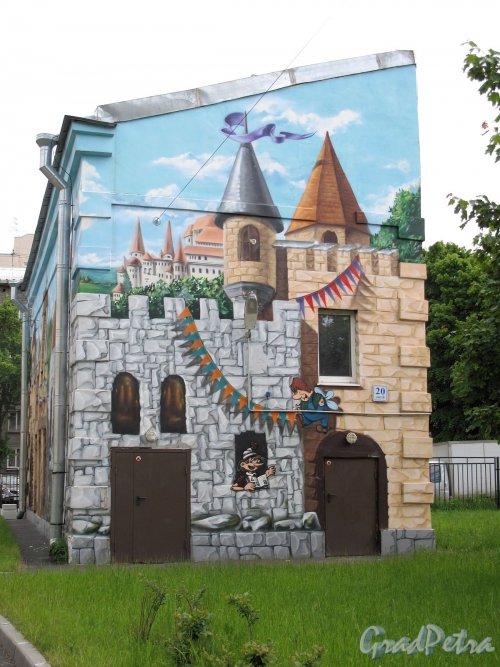 Промышленная ул., дом 20. Детский сад. Роспись стен вспомогательных построек. Фото июнь 2012 г.