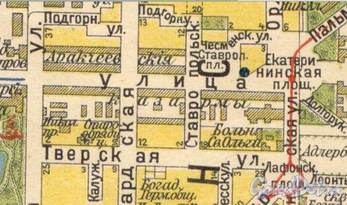 Комплекс зданий «Аракчеевских» казарм. Фрагмент карты 1913 года.