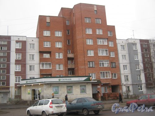 Лен. обл., Гатчинский р-н, г. Гатчина, ул. Генерала Кныша, дом 4. Общий вид здания. Фото 24 ноября 2013 г.