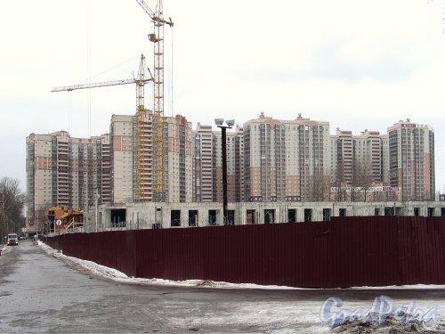 Строительство ЖК «Лиственный». Вид со стороны Сосновского лесопарка. Фото февраль 2014 г.