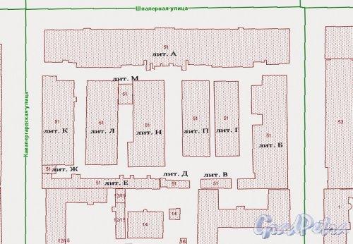 Шпалерная улица, дом 51. Расположение корпусов на начало 2014 года по карте РГИС