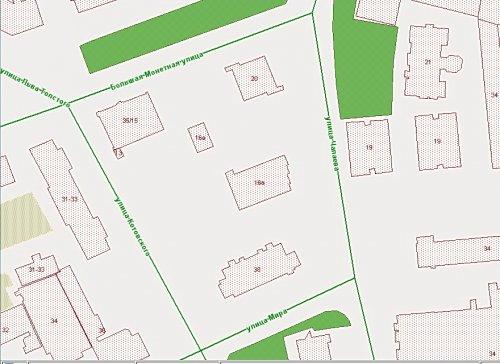 Участок, ограниченный улицей Чапаева, улицей Котовского, улицей Мира, и Большой Монетной улицей. По данным РГИС на начало 2014 года.