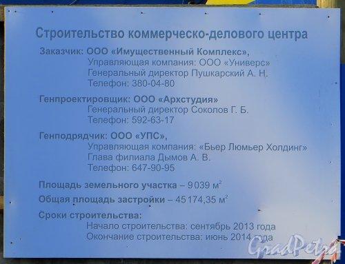 Ташкентская ул., участок 1. Паспорт строительства коммерческо-делового центра. Фото 11 марта 2014 года.