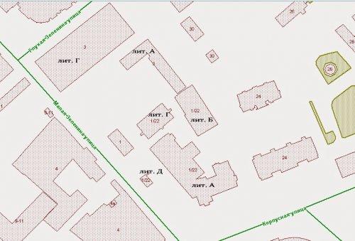 Расположение зданий на Молой Зелениной улице между Корпусной улицей и Глухой Зелениной улицей в 2014 году (дом 3, лит. А, Г, дом 1, дом 1/22, лит. А, Б, Г, Д).