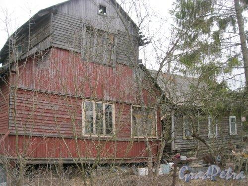 Лен. обл., Гатчинский р-н, пос. Сусанино, Вокзальная сторона, Пушкинская ул., дом 16. Общий вид на постройки. Фото 6 апреля 2014 года.