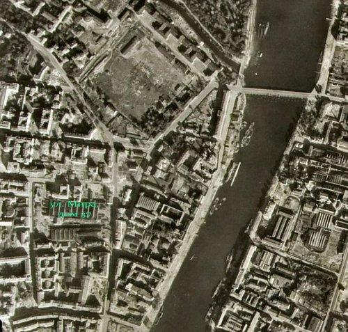 Участок по адресу: улица Мира, дом 37 на снимке немецкой аэроФотосъемки 1940-х годов.