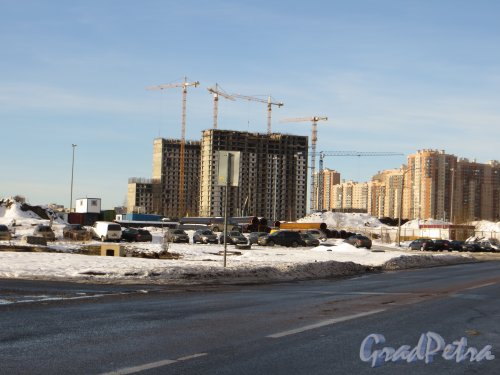 Перспектива Автобусной улицы от Ново-Никитинской улицы в сторону Парашютной улицы . Фото 11 февраля 2015 года.