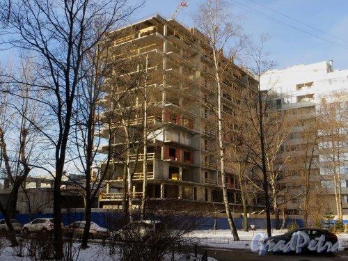 Улица Грота, дом 1-3, литера Г. Строительство нового жилого дома на месте снесенного корпуса жилмассива «Соцстрой». Вид со двора. Фото 11 февраля 2015 года.