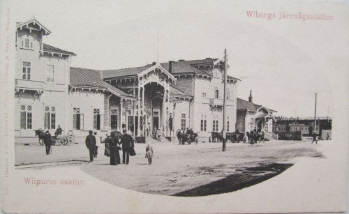 город Выборг,железнодорожная улица, дом 8. Здание старого деревянного Выборгского вокзала. Фото конца XIX века.