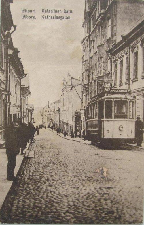 город Выборг, Екатерининская улица (финск. Katariinan Katu, шведск. Katharinegatan). Фото начала XX века.