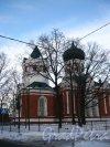Большая Озёрная улица, дом 26. Дом молитвы Евангельских христиан-баптистов (Свято-Троицкая Озерковская церковь). Фасад со стороны улицы. Фото 5 февраля 2013 года.