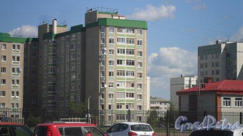 город Всеволожск. Микрорайон Южный. Улица Знаменская, дом 14. 9-этажный панельный жилой дом 2008 года постройки. Фото 29 июля 2015 года.