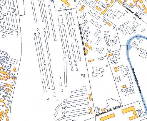 Полтавская улица, дом 9. расположение зданий и сооружений на участке железнодорожной станции «Московская-Товарная».