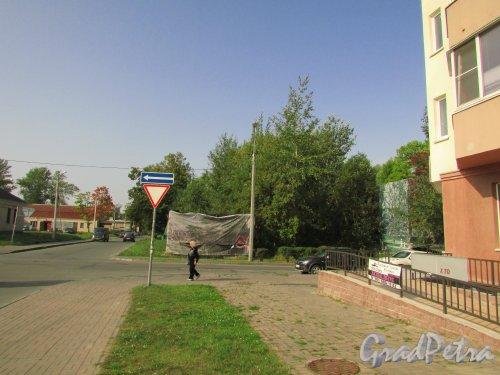 Город Ломоносов, Перекрёсток Владимирской улицы и улицы Костылева. Вид от дома 6 по Владимирской улицы. Фото 18 сентября 2015 года.
