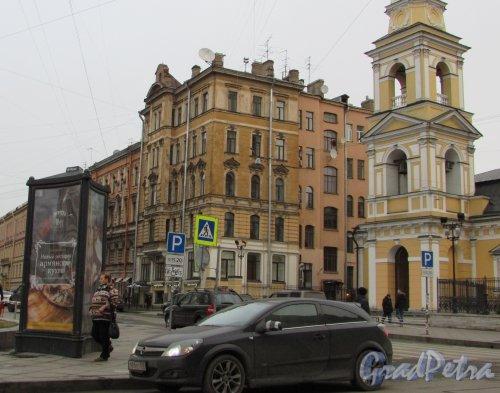 Моховая улица, дом 46, литера Б. Общий вид здания со стороны улицы Белинского. Фото 3 декабря 2015 года.