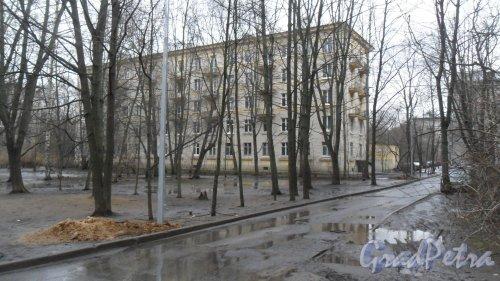 Дрезденская улица, дом 8. 5-этажный жилой дом серии 1-505 1959 года постройки. 3 парадные, 45 квартир, из них 30 2-комнатных квартир и 15 3-комнатных квартир. Фото 11 февраля 2016 года.