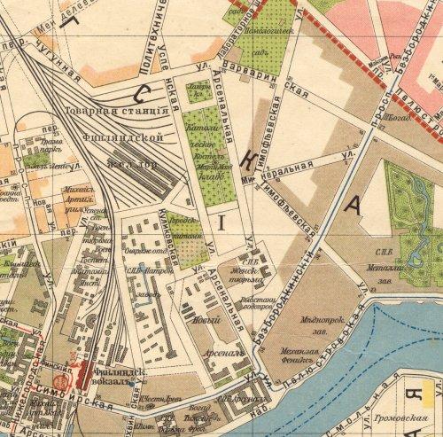 Арсенальная улица и Успенская улица на карте Санкт-Петербурга 1913 года.