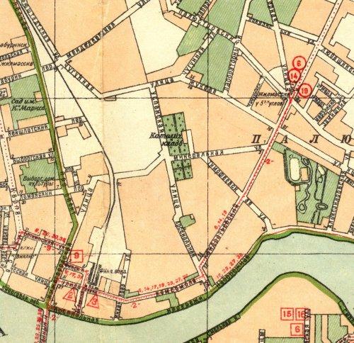 Арсенальная улица и Успенская улица на карте Ленинграда 1940 года.