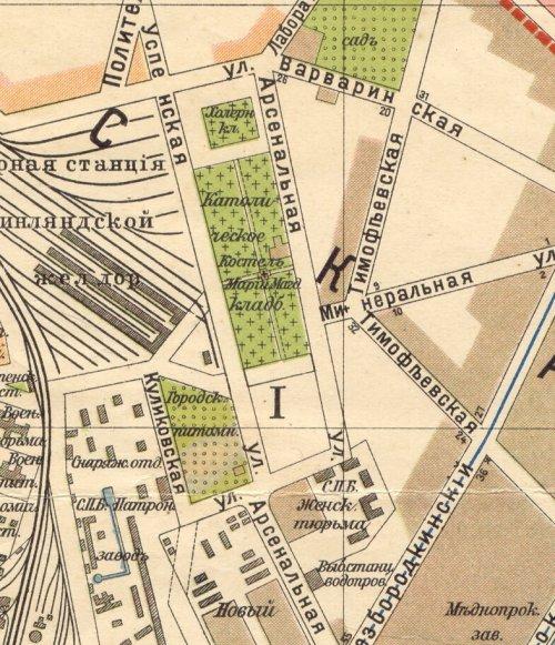 Участок Выборгского католического кладбища. Карта 2013 года.
