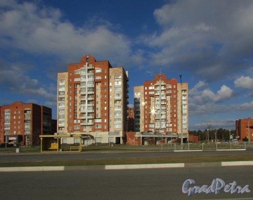 Лен. область, Ломоносовский район, г. Сосновый Бор, Ленинградская улица, дом 58 (слева) и дом 56 (справа). Общий вид жилых домов. Фото 9 апреля 2016 года.