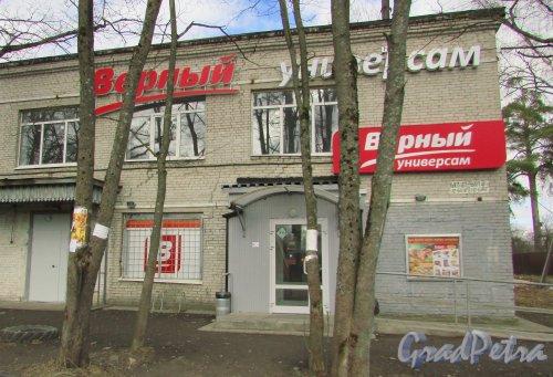 Лен. область, Гатчинский район, пгт. Тайцы, Советская улица, дом 18. Общий магазина «Верный». Фото 7 апреля 2016 года.