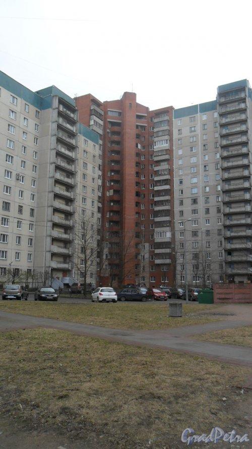 Улица Коллонтай, дом 14, корпус 2. 17-этажный кирпичный дом-вставка 1995 года постройки.1 парадная, 91 квартира. Вид дома со двора. Фото 22 апреля 2016 года.