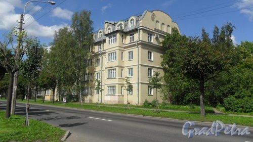 Пушкин, улица Ленинградская, дом 21. 4-этажный жилой дом с мансардой серии 1-305 1959 года постройки. 2 парадные, 35 квартир. Изначально здание было 3-этажным, потом ему надстроили еще этаж и мансарду. Фото 10 августа 2016 года.