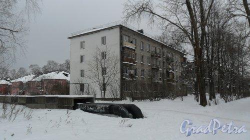 Всеволожский район, поселок имени Морозова, улица Первомайская, дом 5. 4-этажный жилой дом 1964 года постройки. 2 парадные, 32 квартиры. Фото 14 ноября 2016 года.