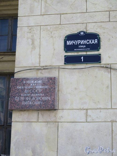 Мичуринская ул., д. 1. Часть дома с Мемориальной доской П.Ф. Папковичу. фото июль 2015 г.