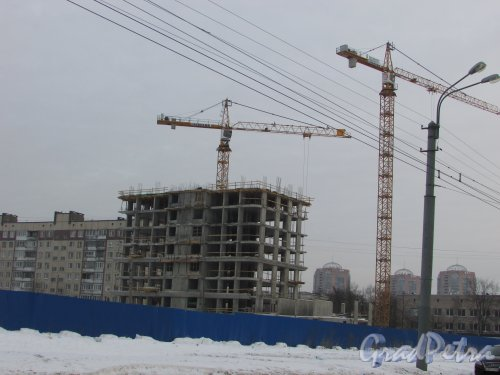 Будапештская улица, участок 1 (севернее дома 6, литера А по Будапештской улице). Общий вид строительства жилого комплекса «Твин Хаус». Фото 15 февраля 2018 года.